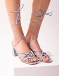 Εικόνα από Γυναικεία πέδιλα lace up με χιαστί λουράκια Σιέλ