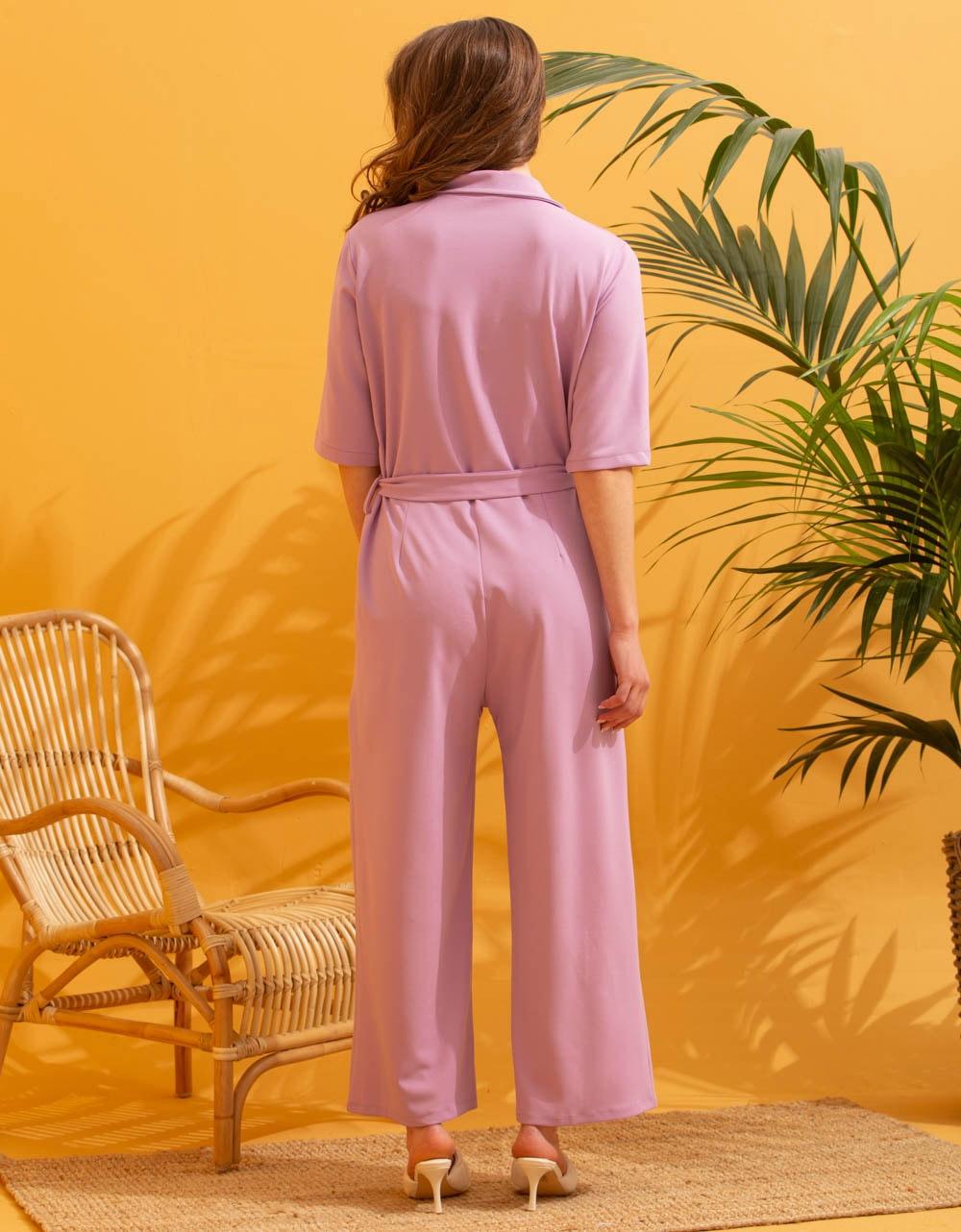 Εικόνα από Γυναικεία ολόσωμη φόρμα με ζωνάκι Λιλά