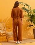 Εικόνα από Γυναικεία ολόσωμη φόρμα με ζωνάκι Καφέ