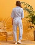 Εικόνα από Γυναικεία ολόσωμη φόρμα με ζωνάκι Σιέλ