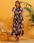 Εικόνα από Γυναικείο maxi φόρεμα floral με βολάν Μαύρο
