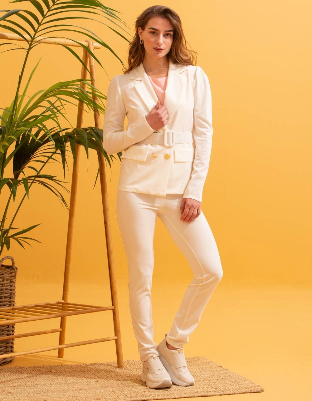 Εικόνα από  Γυναικεία σετ ρούχων παντελόνι & σακάκι Λευκό