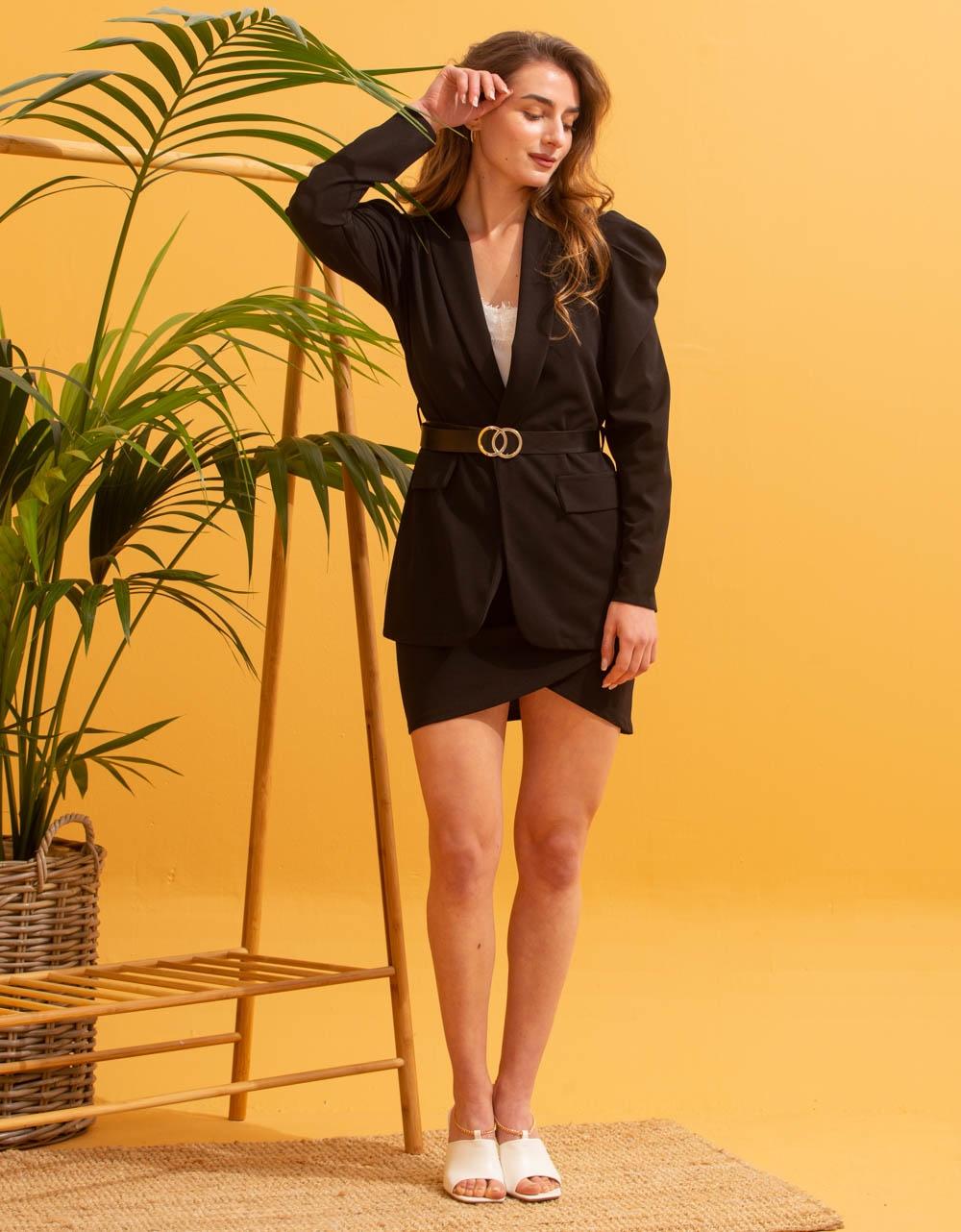 Εικόνα από Γυναικεία σετ ρούχων φούστα & σακάκι Μαύρο