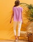 Εικόνα από Γυναικεία μπλούζα see through με αξεσουάρ Μωβ