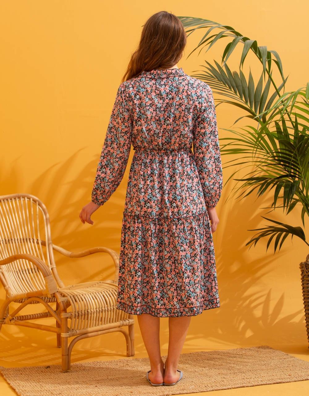 Εικόνα από Γυναικείο floral φορέμα midi Μαύρο/Σιέλ