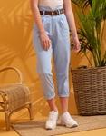 Εικόνα από Γυναικείο παντελόνι ψηλόμεσο με ζωνάκι Μπλε
