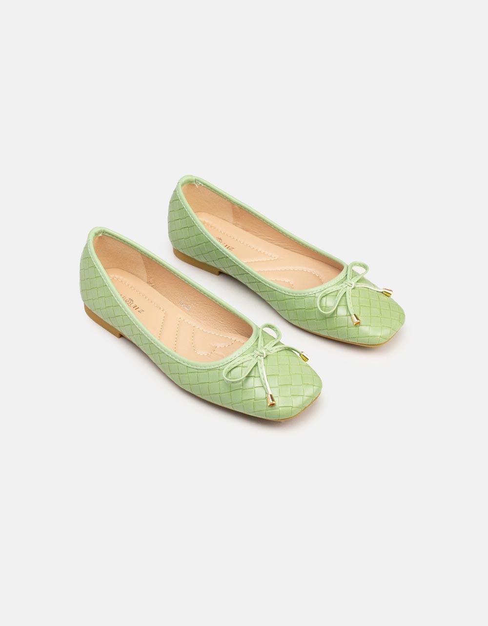Εικόνα από Γυναικεία μπαλαρίνα με διακοσμητικό φιόγκο Πράσινο