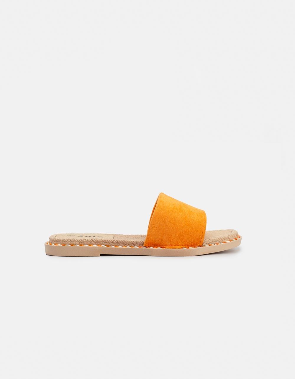 Εικόνα από Γυναικεία σανδάλια suede με φαρδιά φάσα Πορτοκαλί