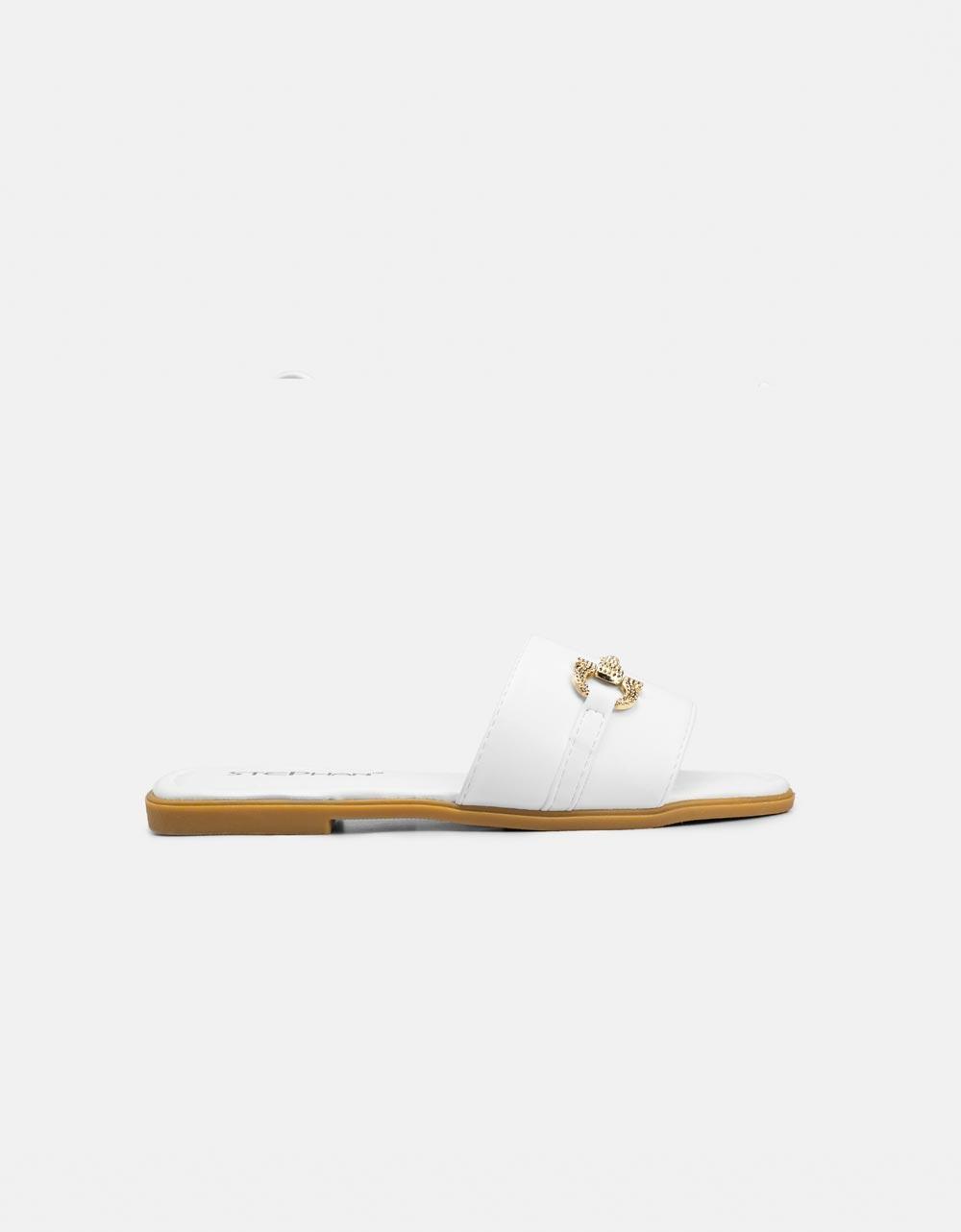 Εικόνα από Γυναικεία σανδάλια με μεταλλική αγκράφα Λευκό
