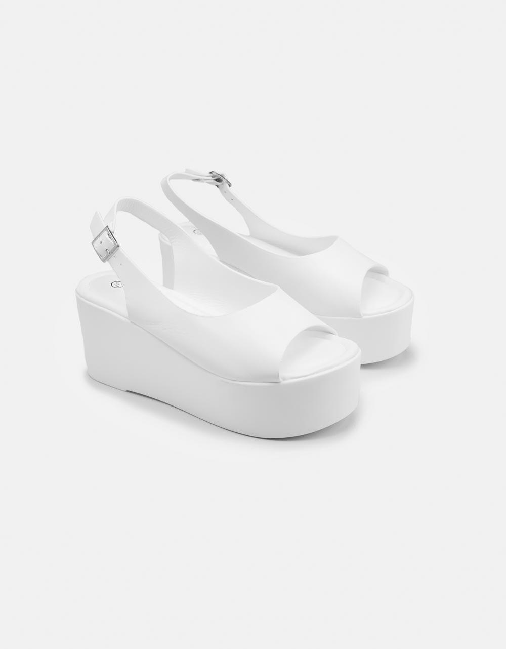 Εικόνα από Γυναικείες πλατφόρμες Peep Toe Λευκό