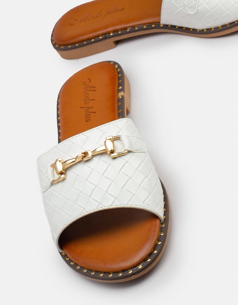 Εικόνα από Γυναικεία σανδάλια με κροκό σχέδιο Λευκό