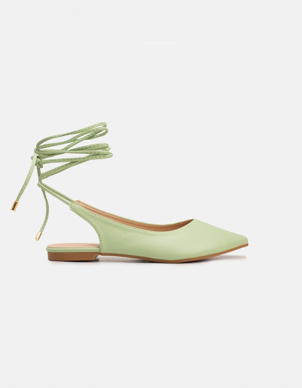 Εικόνα από Γυναικεία mules lace up με χαμηλό τακούνι Πράσινο