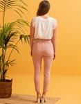 Εικόνα από Γυναικείo παντελόνι ψηλόμεσο με ζωνάκι Ροζ