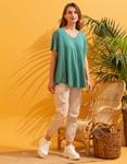 Εικόνα από Γυναικεία μονόχρωμη μπλούζα κοντομάνικη Πράσινο