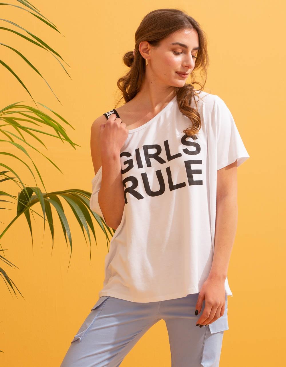 Εικόνα από Γυναικείο t-shirt με έναν ώμο Λευκό