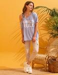 Εικόνα από Γυναικείο t-shirt με έναν ώμο Σιέλ