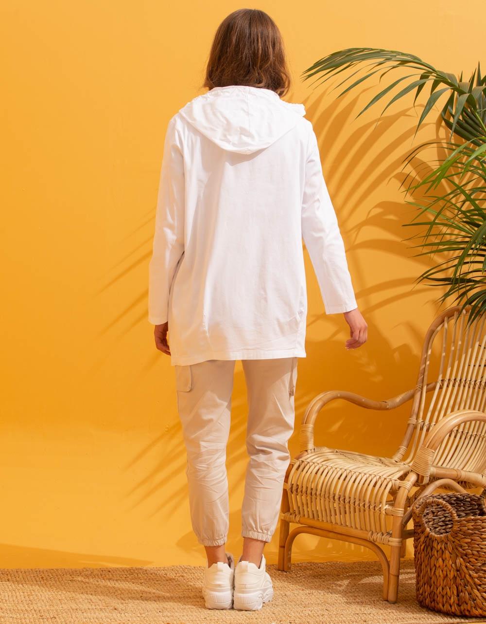 Εικόνα από Γυναικείο πανοφώρι ελαφρύ με κουκούλα Λευκό