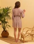 Εικόνα από Γυναικείο midi φόρεμα με puff sleeve Μπεζ