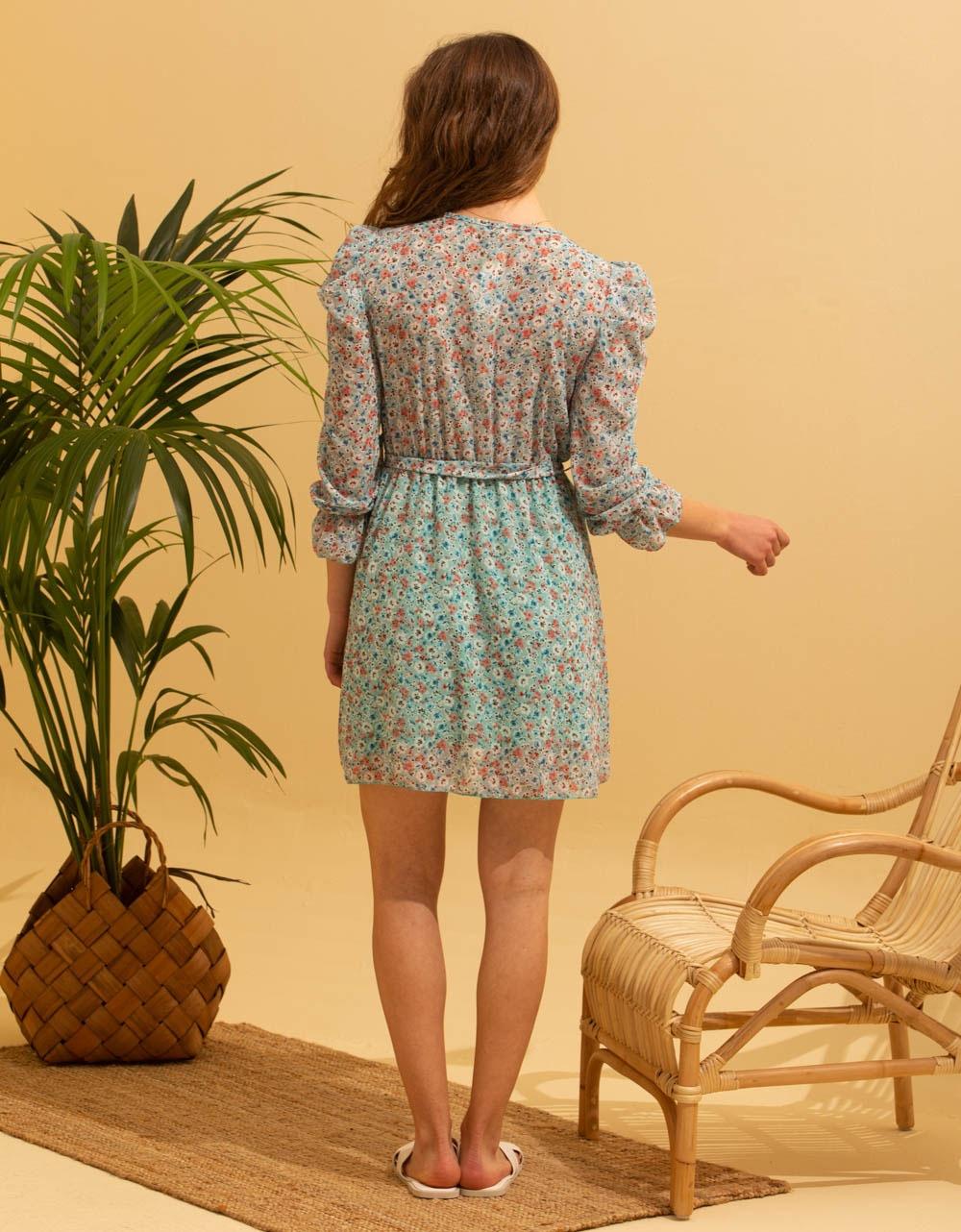 Εικόνα από Γυναικείο midi φόρεμα με puff sleeve Πράσινο