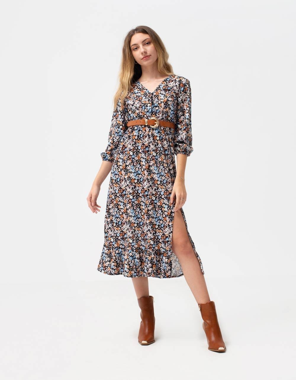 Εικόνα από Γυναικείο φόρεμα floral μάξι Μαύρο