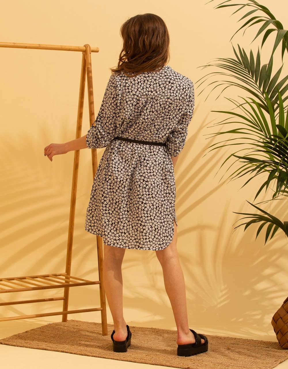 Εικόνα από Γυναικείο φορέμα μίνι με σχέδιο Μαύρο