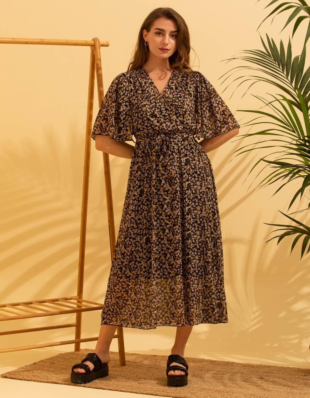 Εικόνα από Γυναικείο μακρύ φορέμα floral Μαύρο