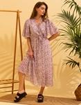 Εικόνα από Γυναικείο μακρύ φορέμα floral Ροζ