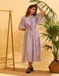 Εικόνα από Γυναικείο μακρύ φορέμα floral Λιλά