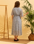 Εικόνα από Γυναικείο μακρύ φορέμα floral Σιέλ