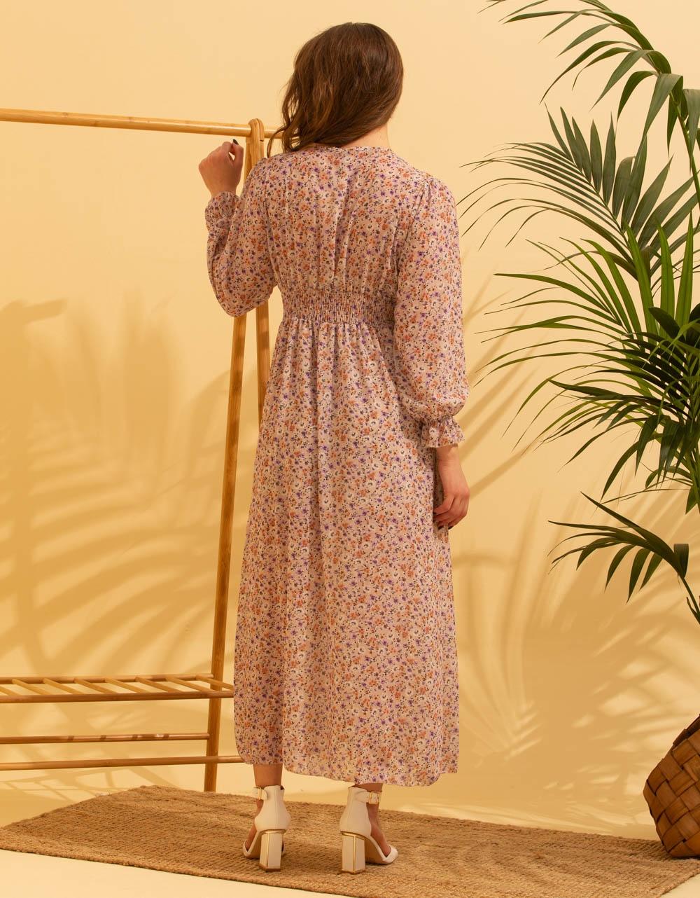 Εικόνα από Γυναικείο φόρεμα floral με άνοιγμα στο πλάι Μπεζ