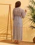 Εικόνα από Γυναικείο φόρεμα floral με άνοιγμα στο πλάι Σιέλ