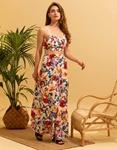 Εικόνα από Γυναικεία σετ φούστα maxi & αμάνικο crop top Λευκό/Κόκκινο