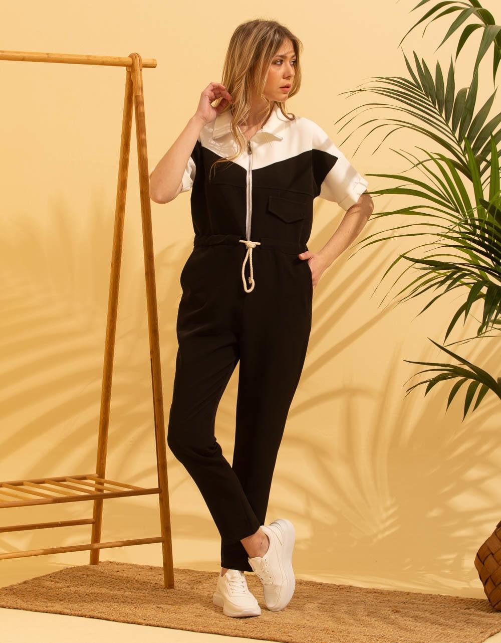 Εικόνα από Γυναικεία ολόσωμη φόρμα σε συνδυασμό χρωμάτων Μαύρο