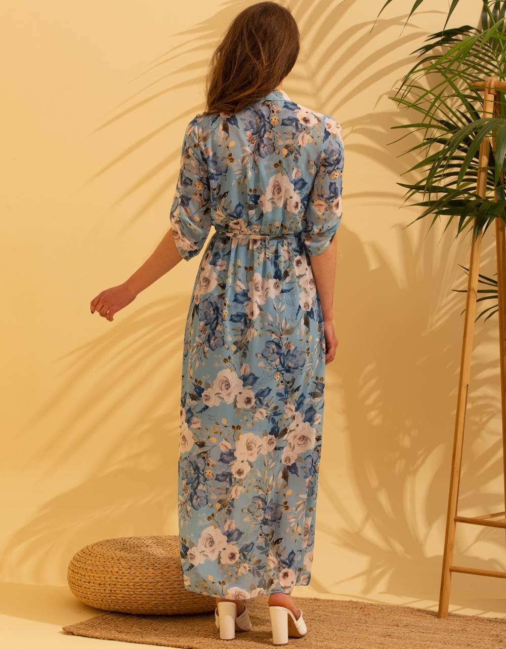 Εικόνα από Γυναικείο maxi floral φόρεμα με ανοίγματα Μπλε