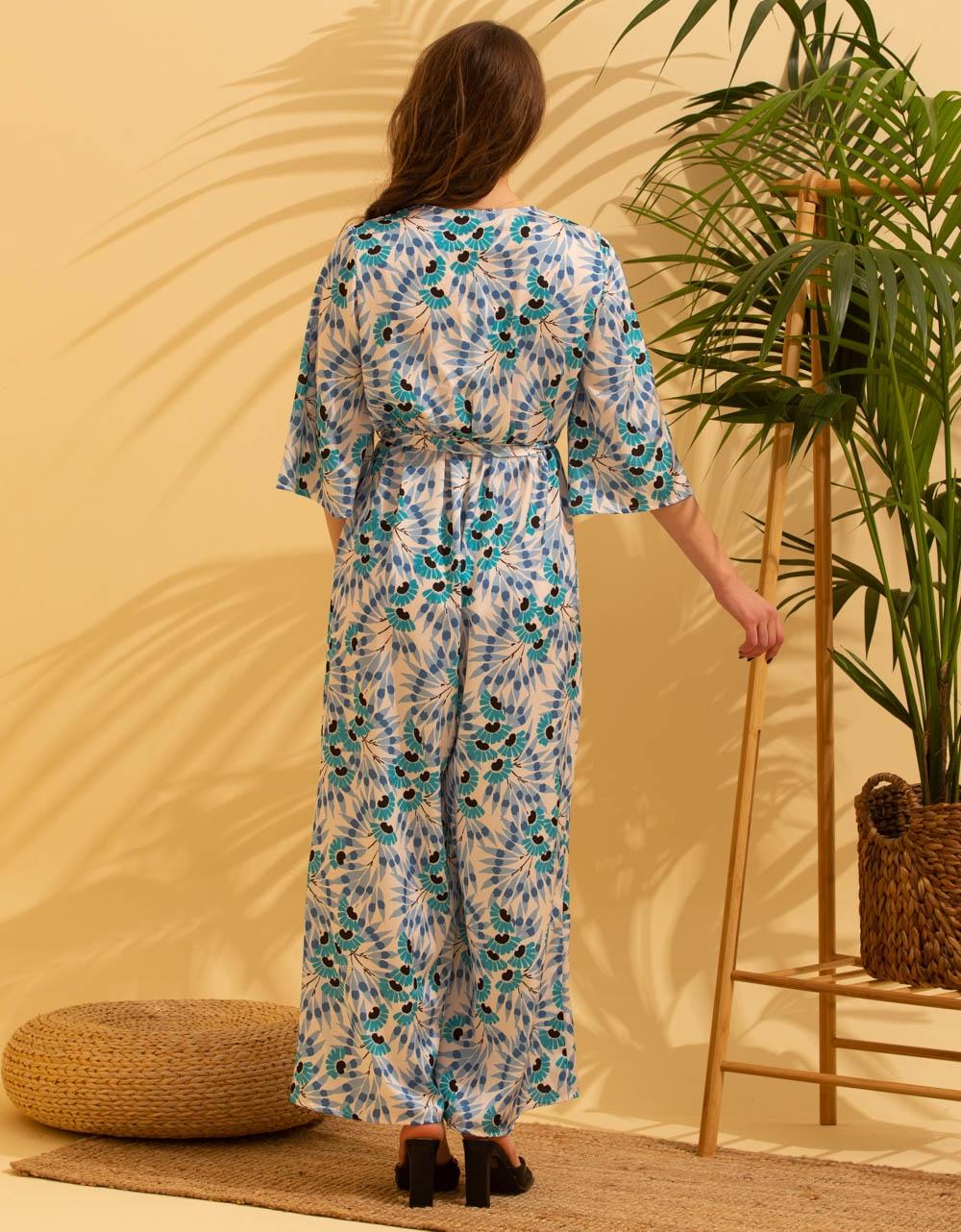 Εικόνα από Γυναικεία ολόσωμη φόρμα με κρουαζέ μπούστο Σιέλ