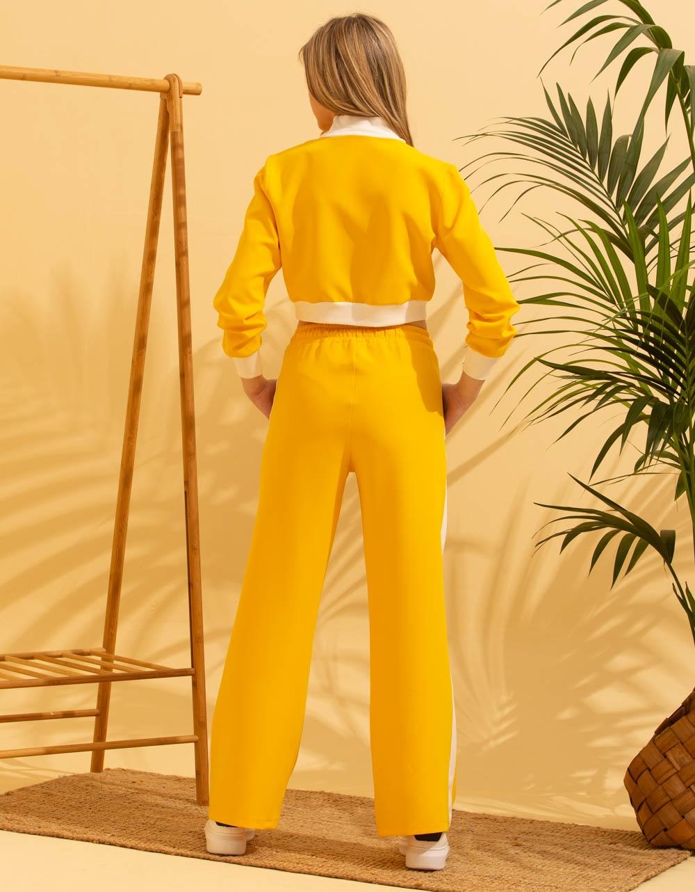 Εικόνα από Γυναικείο σετ παντελόνι & μακρυμάνικο crop top φούτερ Κίτρινο