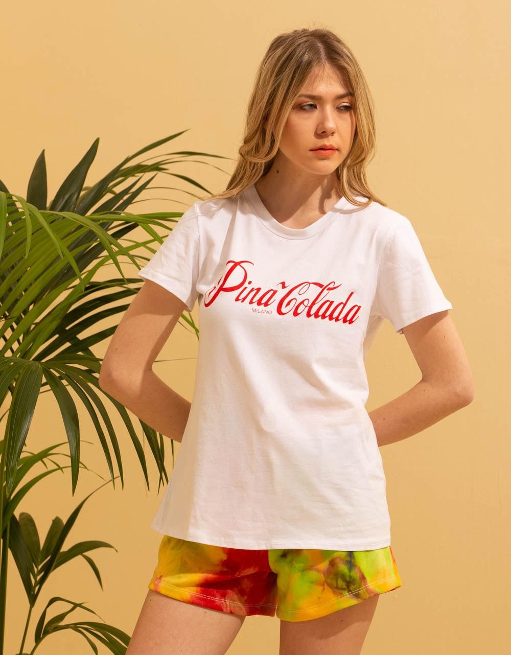 Εικόνα από Γυναικεία κοντομάνικη μπλούζα με τύπωμα Λευκό