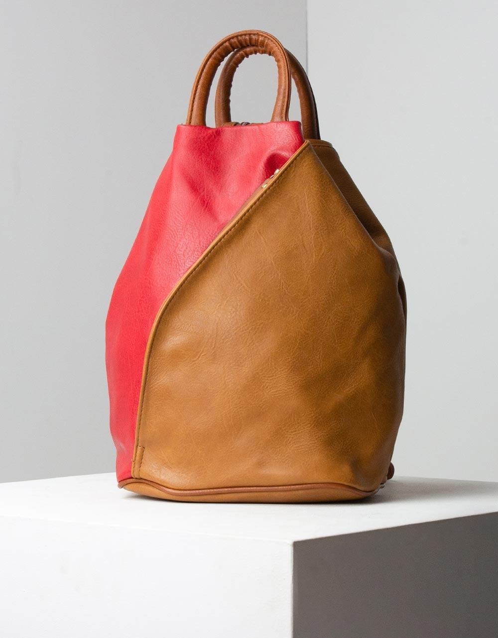 Εικόνα από Γυναικεία σακίδια πλάτης με διχρωμία και λεπτομέρειες Κόκκινο