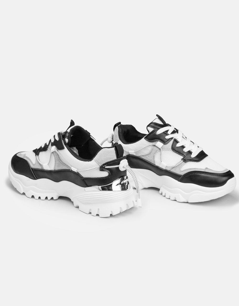 Εικόνα από Γυναικεία Chunky sneakers με μεταλλική λεπτομέρεια Μαύρο