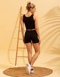 Εικόνα από Γυναικείο σετ activewear σόρτς & crop top Μαύρο