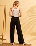 Εικόνα από Γυναικείο παντελόνι με φαρδιά μπατζάκια Μαύρο