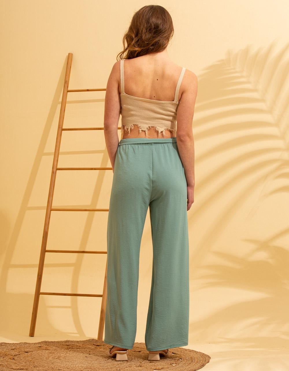 Εικόνα από Γυναικείο παντελόνι με φαρδιά μπατζάκια Πράσινο