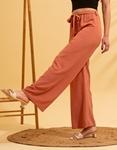Εικόνα από Γυναικείο παντελόνι με φαρδιά μπατζάκια Σομόν