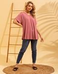 Εικόνα από Γυναικεία μονόχρωμη μπλούζα κοντομάνικη Ροζ