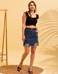 Εικόνα από Γυναικεία φούστα ψηλόμεση με σκίσιμο Τζιν