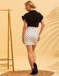 Εικόνα από Γυναικεία φούστα με πουά σχέδιο Λευκό