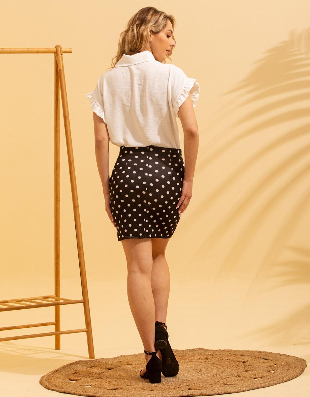 Εικόνα από Γυναικεία φούστα με πουά σχέδιο Μαύρο