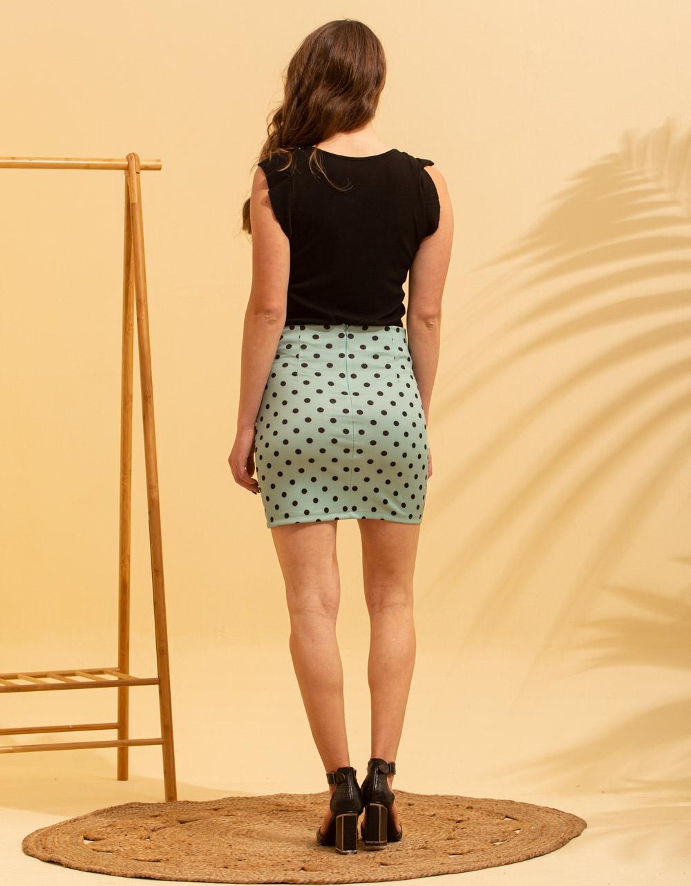 Εικόνα από Γυναικεία φούστα με πουά σχέδιο Πράσινο
