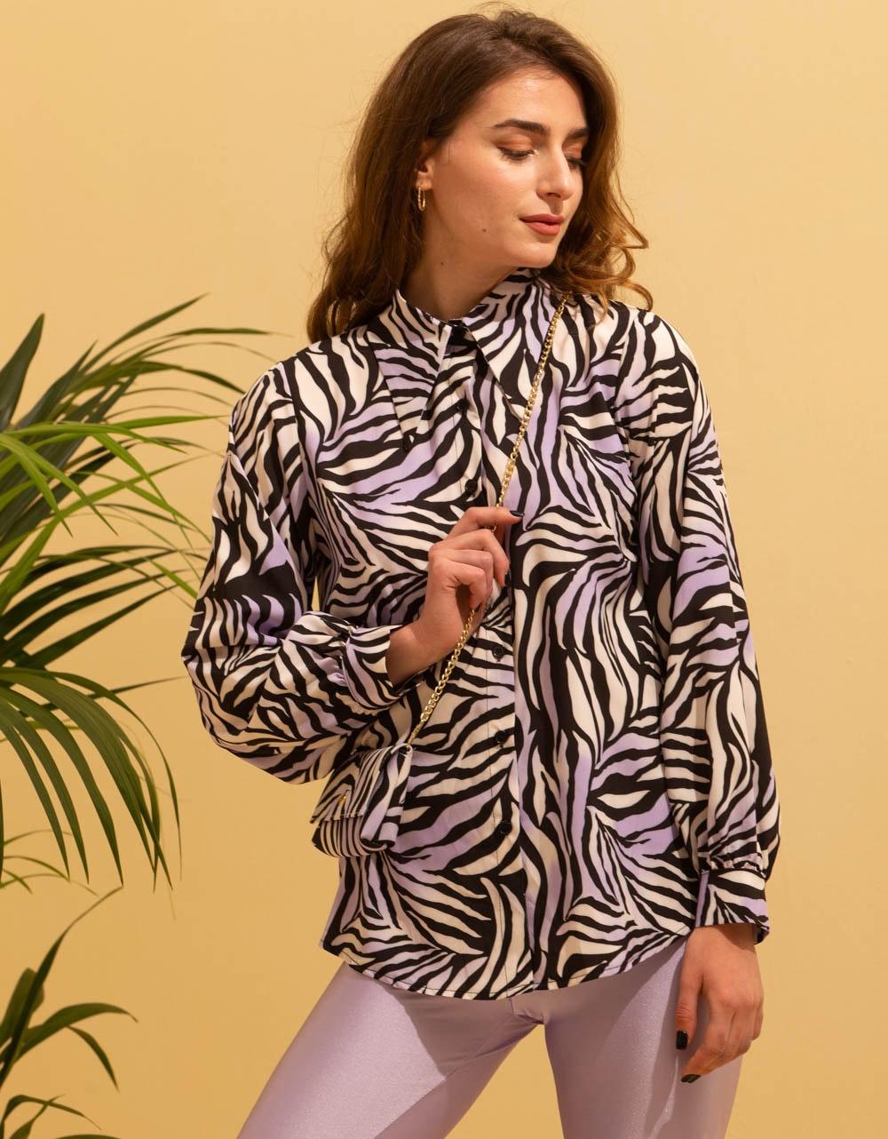 Εικόνα από Γυναικείο πουκάμισο με αξεσουάρ τσαντάκι Μωβ