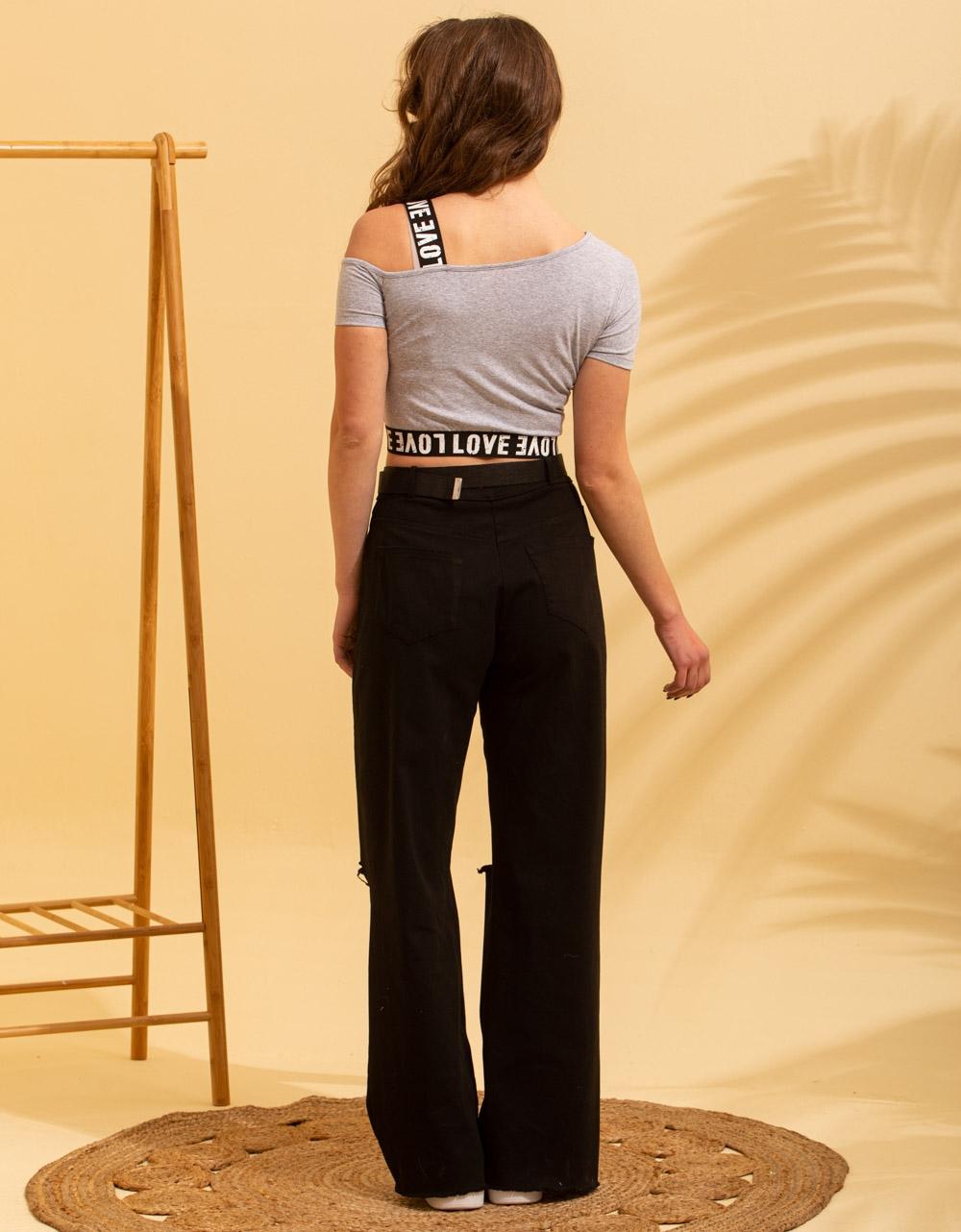Εικόνα από Γυναικείο t-shirt με έναν ώμο Γκρι